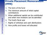 private placement memorandum ppm1