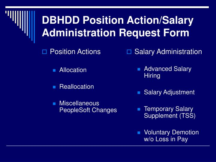 Dbhdd position action salary administration request form