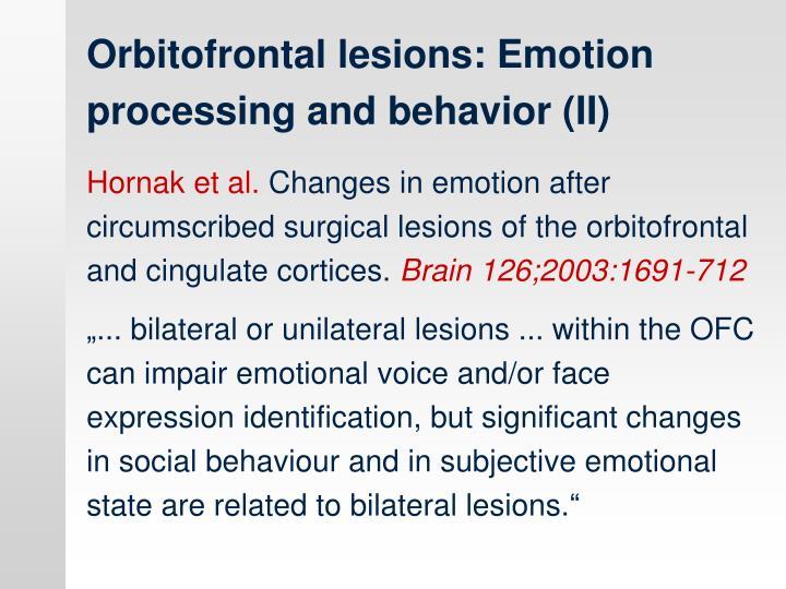 Orbitofrontal lesions: Emotion processing and behavior (II)