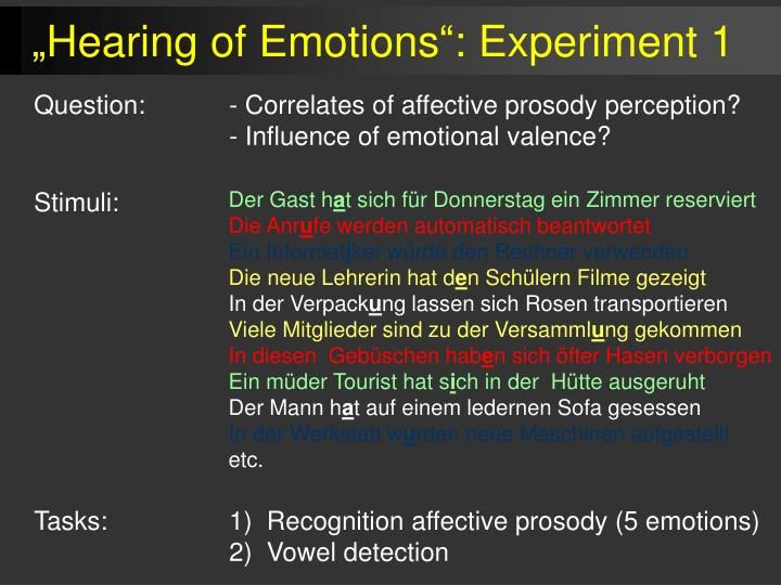 """""""Hearing of Emotions"""": Experiment 1"""