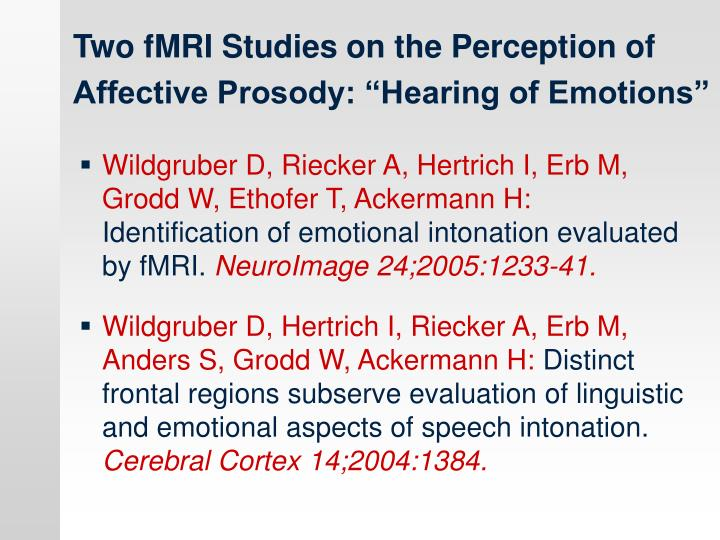 """Two fMRI Studies on the Perception of  Affective Prosody: """"Hearing of Emotions"""""""
