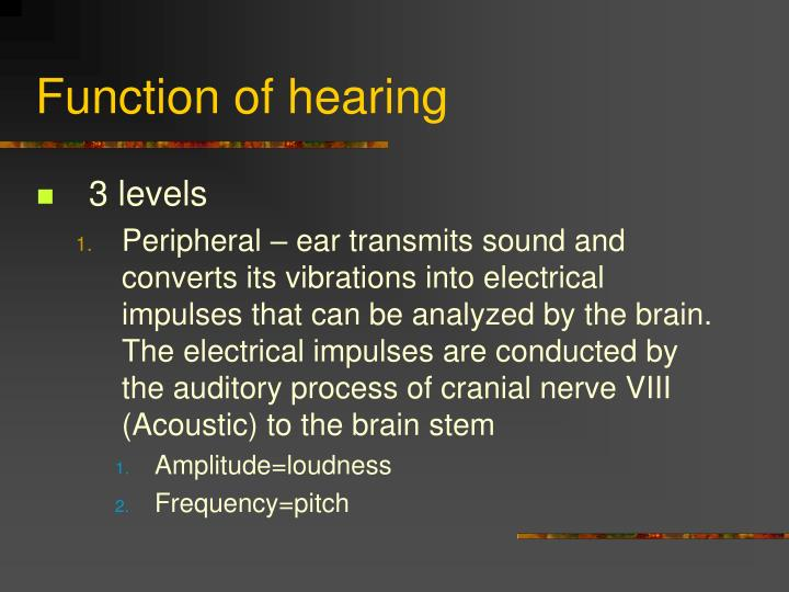 Function of hearing