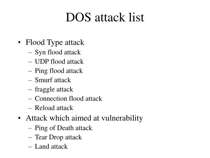 Dos attack list