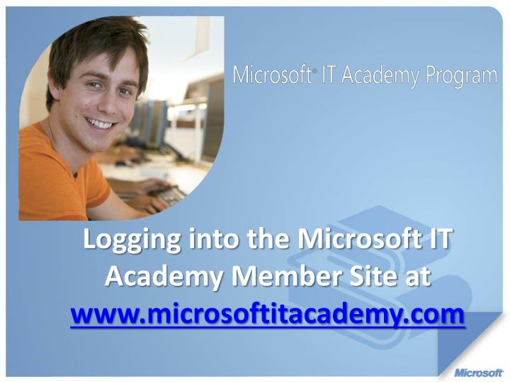 Logging into the Microsoft IT Academy Member Site at