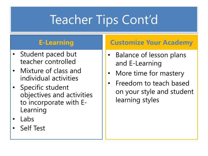 Teacher Tips Cont'd