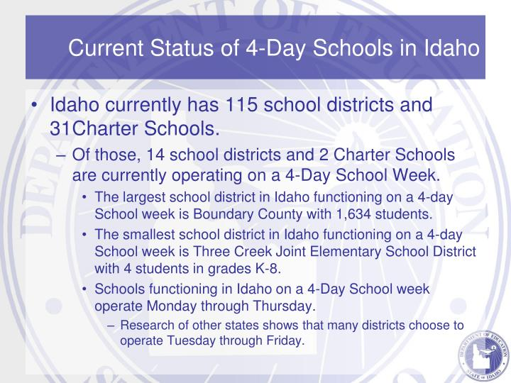 4 days of school week Colorado's garfield school district no re-2 trimmed its school week to four days last year in the hopes of saving roughly half a million dollars the move paid off, at least as far as the budget.