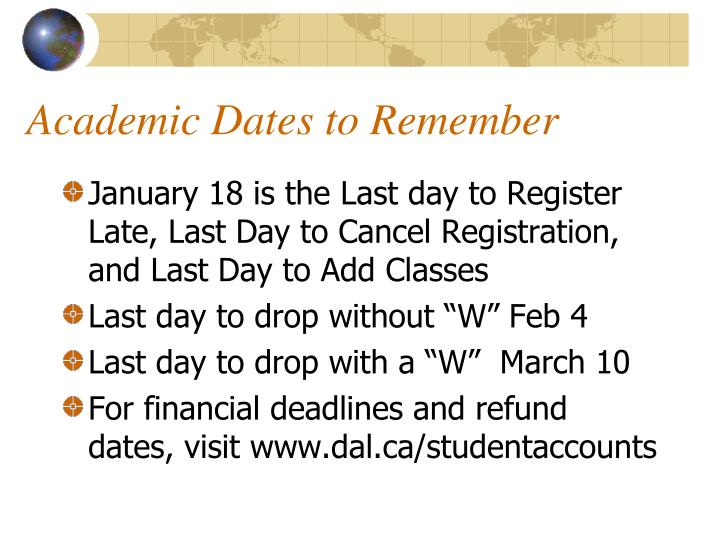 Academic Dates to Remember