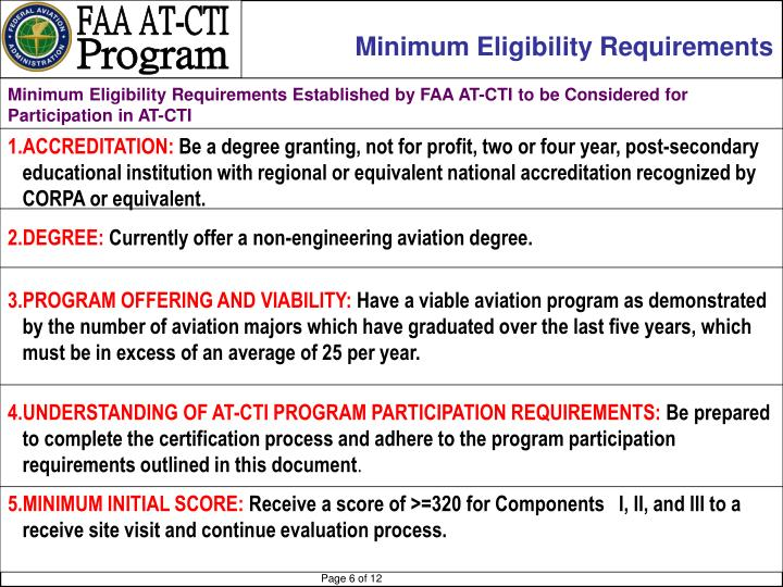 Minimum Eligibility Requirements