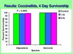 results coccinellids 4 day survivorship