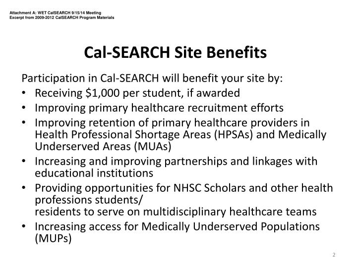 Cal search site benefits