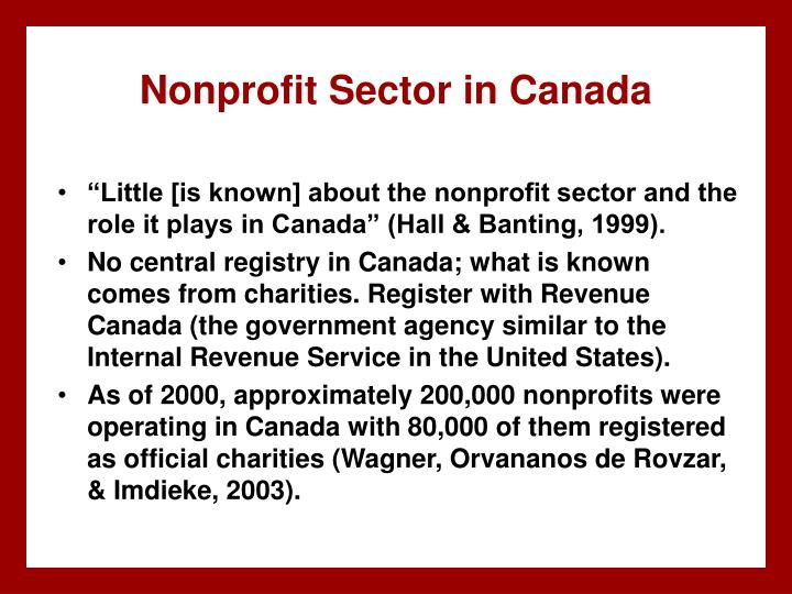 Nonprofit Sector in Canada