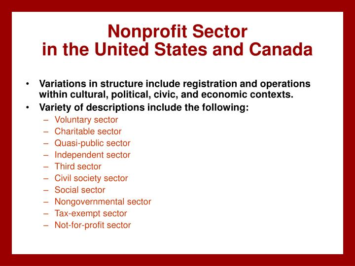 Nonprofit sector in the united states and canada