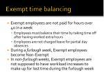 exempt time balancing