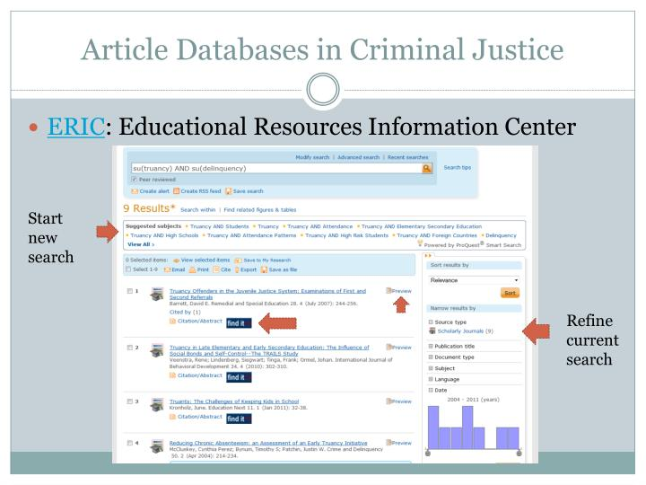 Article Databases in Criminal Justice