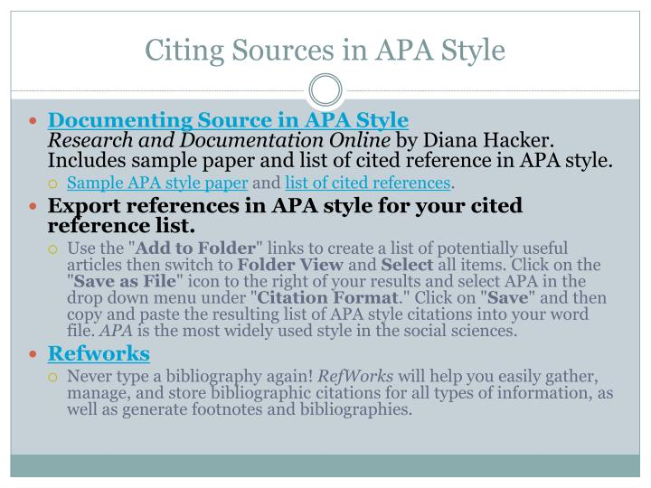 Citing Sources in APA Style