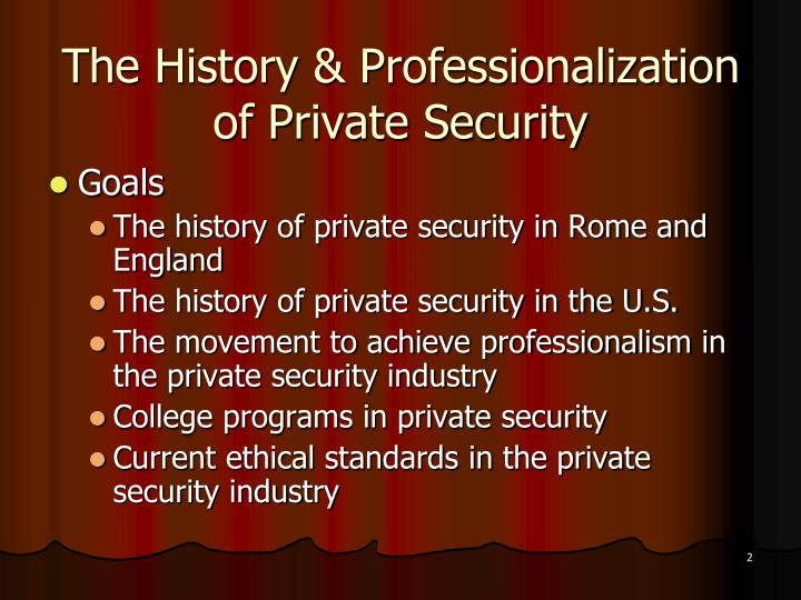 The history professionalization of private security