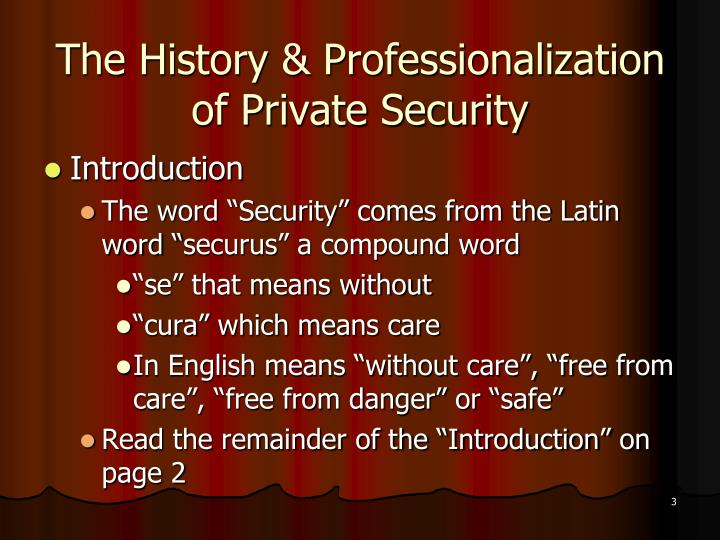 The history professionalization of private security1