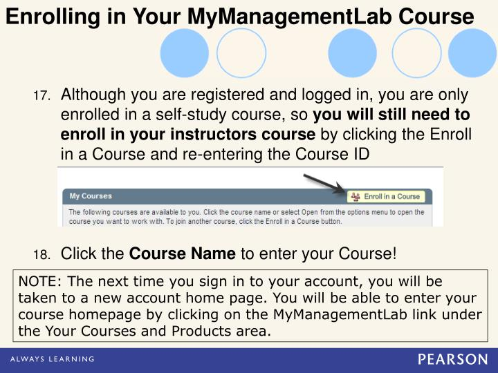 Enrolling in Your MyManagementLab Course