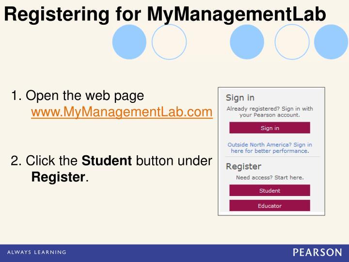 Registering for MyManagementLab