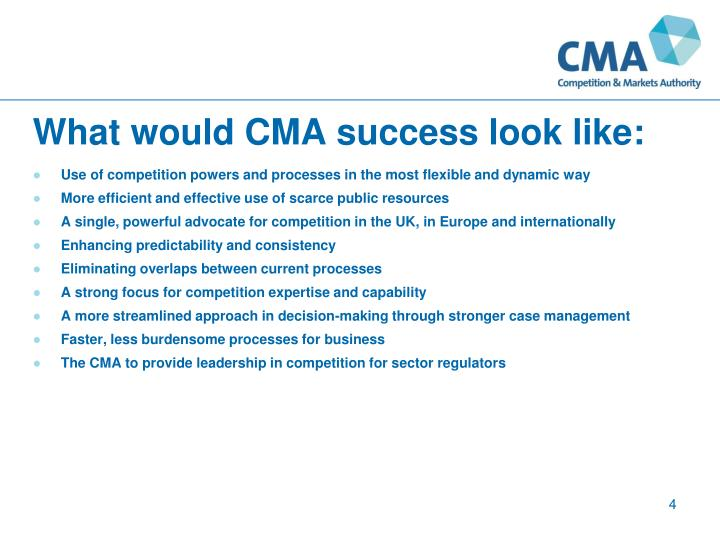 What would CMA success look like: