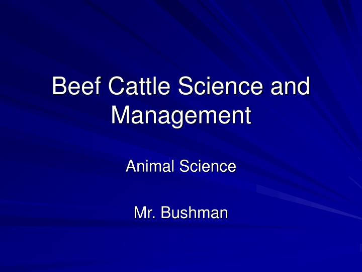beef cattle science and management n.