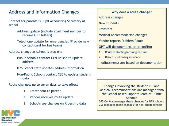 Address and Information Changes
