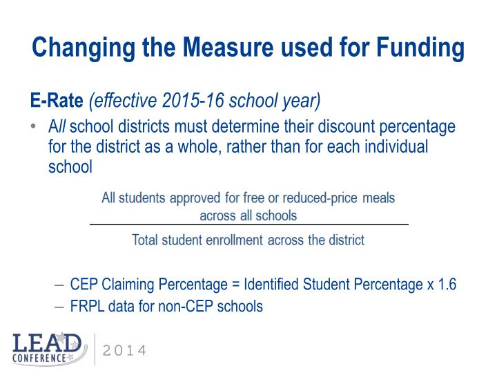 Changing the Measure used for Funding