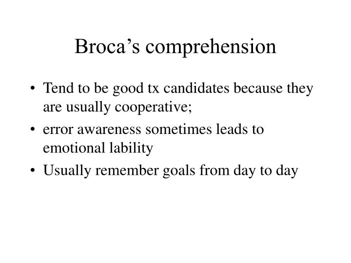 Broca's comprehension