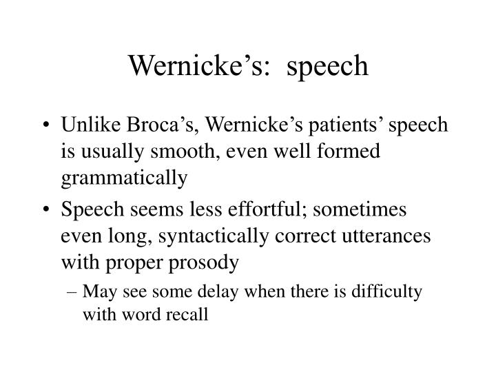 Wernicke's:  speech