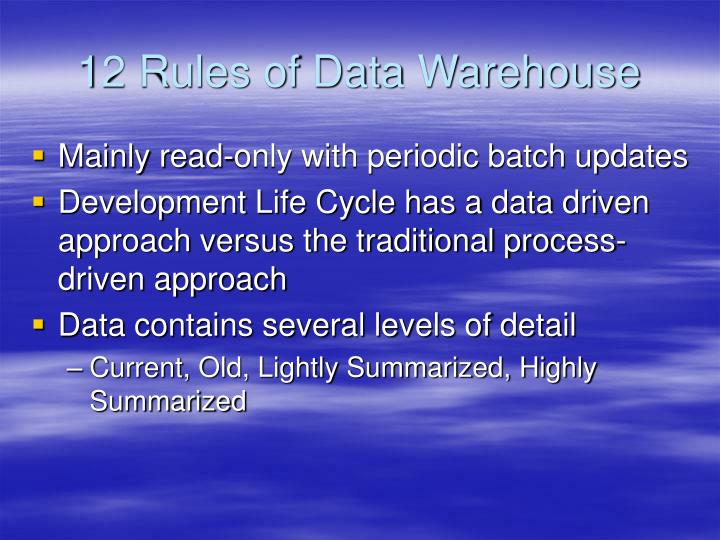 12 Rules of Data Warehouse
