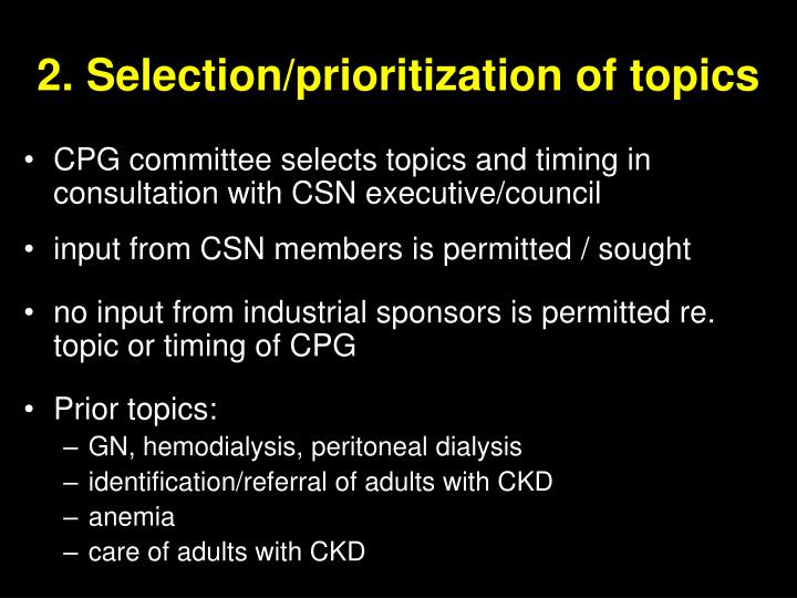 2. Selection/prioritization of topics