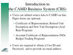 introduction to the camd business system cbs