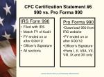 cfc certification statement 6 990 vs pro forma 990