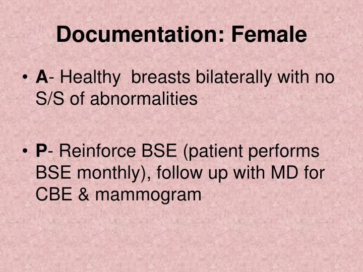 Documentation: Female