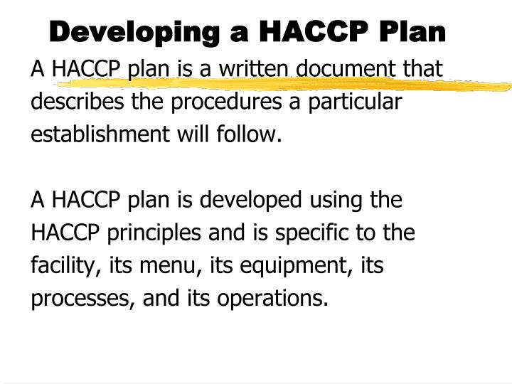 Developing a HACCP Plan