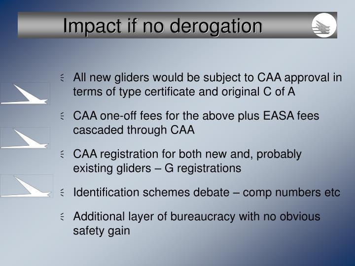 Impact if no derogation