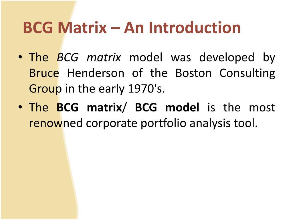 PPT - BCG Matrix – A Business Portfolio Tool PowerPoint Presentation
