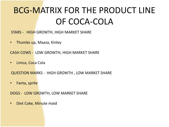 diet coke in bcg matrix Coca cola strategic plan  are classic coca cola, diet coke, fanta, sprite, minute maid etc  the macro-environment 4 swot analysis 5 bcg matrix 6 spicc 7 .