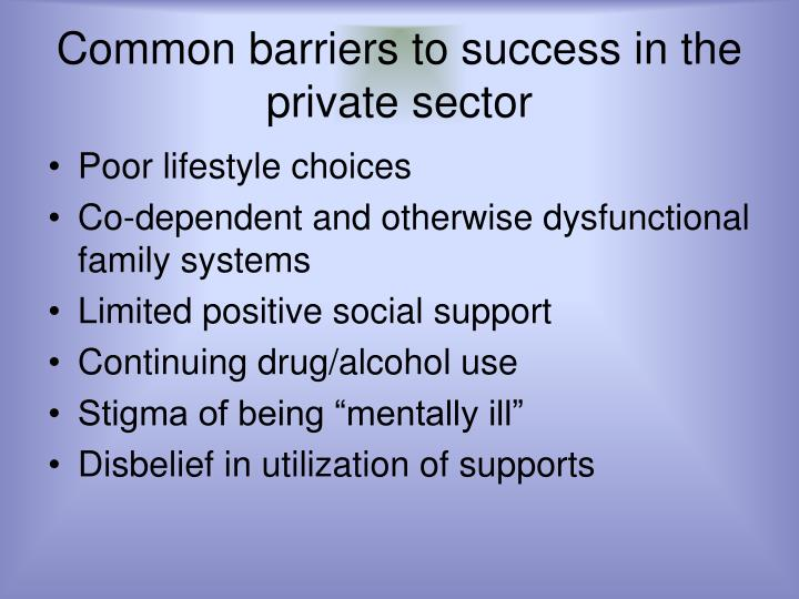 Common barriers to success in the private sector