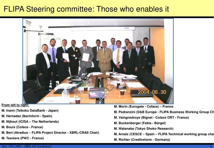 FLIPA Steering committee: Those who enables it