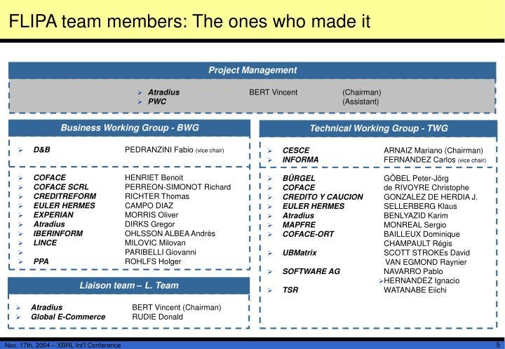 FLIPA team members: The ones who made it