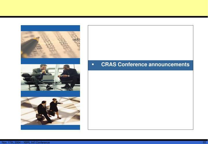 CRAS Conference announcements