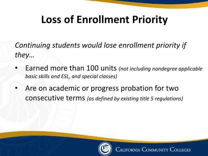 Loss of Enrollment Priority
