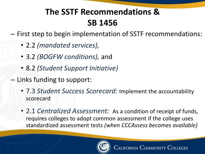 The SSTF Recommendations &