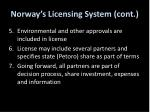 norway s licensing system cont