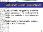 visiting with college representatives