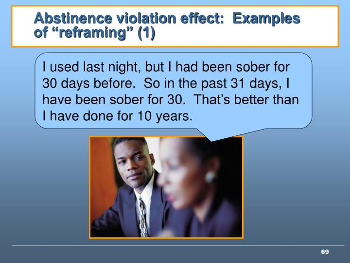 """Abstinence violation effect:  Examples of """"reframing"""" (1)"""