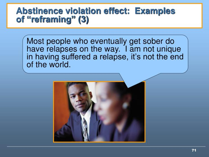 """Abstinence violation effect:  Examples of """"reframing"""" (3)"""