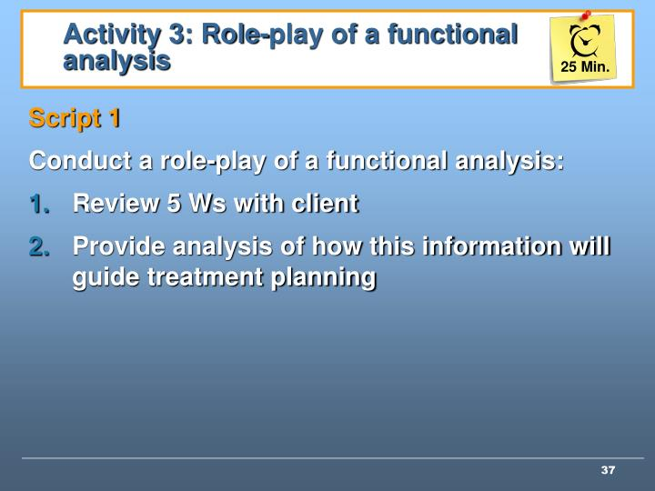 Activity 3: Role-play of a functional analysis