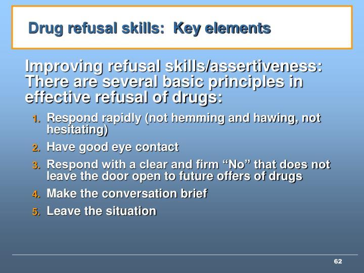 Drug refusal skills:  Key elements